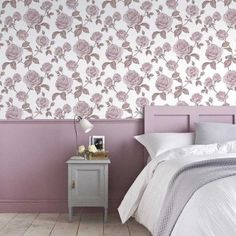 Graham & Brown Countess Pink and White Removable Wallpaper Sample 10413794 - The Home Depot Yellow Cottage, Rose Cottage, Boutique Wallpaper, Contemporary Style, Modern, Design Repeats, Grey Wallpaper, Pink Room, Wallpaper Samples