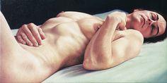 Slapende vrouw met hand op buik / Sleeping woman with hand on her belly, 25 x 50 cm, oil on canvas, 2000.