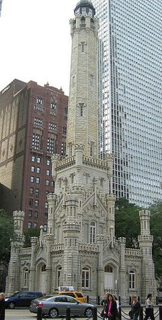 Chicago Water Tower. One of very few structures in the business district to escape the fire of 1871. #MostBeautifulArchitecture #Chicago