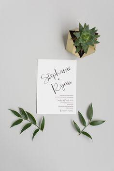 A simple modern wedding invitation.