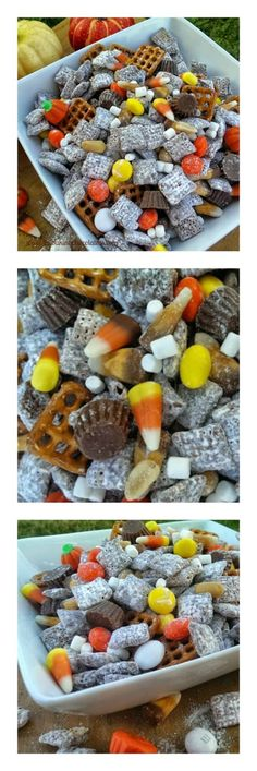Halloween 'Party' Puppy Chow - Celebrate Halloween in 'party' mode with this yummy, addictive munchie, crunchy corn chex mix drenched with chocolate and peanut butter flavors, partied up with a Halloween candy mix, pretzels and peanuts! Party on Frankenstein! Party on Dracula! Get your munchie fix here, little monsters! via @https://www.pinterest.com/BaknChocolaTess/