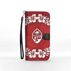 Guam Seal Red Hibiscus Chamorro Phone Wallet Case iPhone Samsung Pixel Motorola