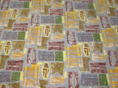 Mid Century Modern mts Atomic TIKI Retro VTG Barkcloth Fabric Tablecloth Throw in Collectibles, Linens & Textiles (1930-Now), Fabric, Upholstery, Drapery | eBay