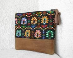 Clutch purse Cosmetic bag vintage cotton Geometry by HelloVioleta