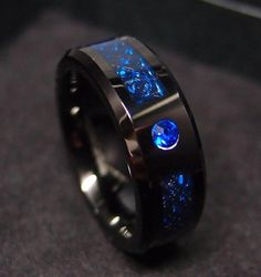 """Material : Tungsten, carbon fiber. Item : Tungsten Rings. Chain Size Chart:Rings Size Conversion Char Gemstone: Blue Sapphire. Before you want to go to Resolution Center,and file """"I haven't received it yet."""".   eBay!"""