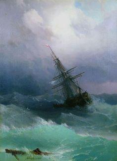 """Ivan Konstantinovič Ajvazovskij, """"Nave nel mare in tempesta"""" (1887)"""