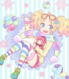 ✮ ANIME ART ✮ pastel. . .fairy kei fashion. . .striped socks. . .stockings. . .scarf. . .ribbons. . .twin tails. . .glasses. . .plush toys. . .unicorn. . .doll. . .colorful. . .bubbles. . .lace. . .cute. . .kawaii