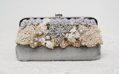 Silver Handbag  / Vintage Wedding / Downton by PetiteVintageBags