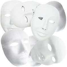 """MICHLEY Full Face Party Mask White Cosplay Masks In Dance Party (12pcs Male+12pcs Female) - Size: Male 6*9"""", Female 6*7"""" 