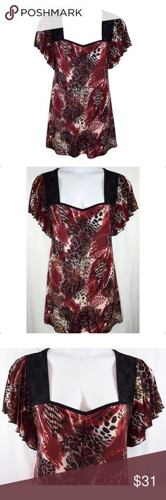 YUMMY PLUS Burgundy Flutter Sleeve Top NEW NEW Burgundy, Black, White, ruched sweetheart neckline, lace shoulders, short flitter sleeves. Soft silky Fabric is 95% Polyester, 5% spandex, machine washable. Measurements: 1X-bust-42 to 48 (stretched), length-28, 2X-bust-46 to 56 (stretched), length-30 1/2, 3X-50 to 60 (stretched)' length-31. NWOT *Price Firm* Yummy Plus Tops Blouses