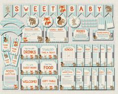 Woodland Theme Complete Baby Shower Package by PixieBabyShower Baby Shower Bingo, Baby Shower Printables, Baby Shower Favors, Baby Shower Parties, Baby Shower Decorations, Baby Shower Invitations, Woodland Theme, Woodland Animals, Woodland Party