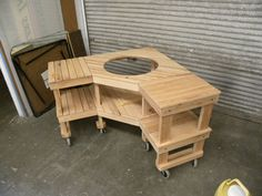 New Ideas Backyard Bbq Setup Big Green Eggs Big Green Egg Outdoor Kitchen, Big Green Egg Table, Outdoor Kitchen Design, Green Eggs, Green Egg Grill, Bbq Table, Picnic Table, Patio Table, Woodworking Table Plans