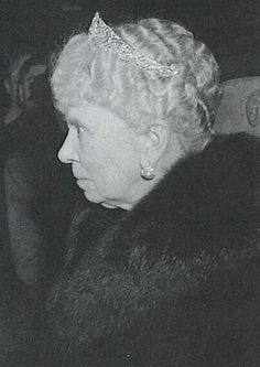 HM Queen Mary Queen Alexandra's wedding earrings and a diamond bandeau seen in public only on this occasion.
