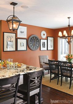 Home design offers comfort and style – Dining Room Dining Room Remodel, Dining Room Walls, Fresh Kitchen, Kitchen Room, Kitchen Decor, Kitchen Wall Decor, Orange Dining Room, Orange Kitchen Walls, Dining Room Wall Color