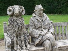 "helen warlow ‏@HWarlow tweeted ""One Man and his Sheep"" sculpture in the gardens of Rufford Abbey /Country Park Notts."