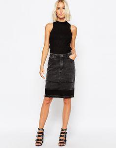 Cheap Monday Raw Edge Denim Pencil Skirt