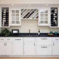 Designing Traditional Kitchen Using Pantry, Mirror & White Cabinet - Bar, Built Ins, Glass Front Cabinets, Candles & Wine Storage Wine Rack Cabinet, Wine Rack Storage, Wine Racks, Kitchen Storage, Kitchen Racks, Buffet Cabinet, Kitchen Organization, Organization Ideas, Glass Front Cabinets