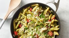 Pesto is easy to make from scratch with just a handful of ingredients. Its fresh flavor is the highlight of this super-fast pasta dish, packed with cherry tomatoes and chicken.