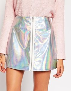 Enlarge ASOS Holographic Mini Skirt with Zip Front
