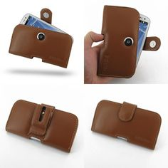 PDair Leather Case for Samsung Galaxy S III S3 GT-i9300 - Horizontal Pouch Type (Brown)