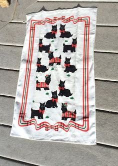 Kay Dee Linen Featuring Scottie Dogs in Red Tartan by vintagemb60
