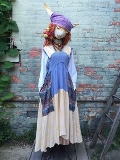 SOLD TO TORRE ***O/S Yellow Pinafore - Womens Upcycled Apron Dress - Bohemian Cottage Dress - Raggandbone Free People Style - Sz Medium