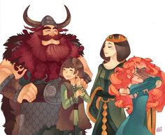 Stoick: This is my first born, Hiccup. Elinor: This is my daughter, Merida. Hiccup: Dad, I have a girlfriend … Merida: MOM, YOU'RE RUINING MY LIFE !<~ totally how their conversation would go( the big four ) Disney Animation, Disney Pixar, Disney And Dreamworks, Disney Art, Jack Frost, Walt Disney Pictures, Disney Dream, Disney Love, Brave Disney