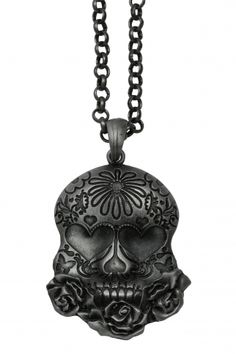 Sugar Skull Necklace by Kitsch 'N' Kouture #InkedShop #skull #necklace #sugarskull #jewelry #style #fashion