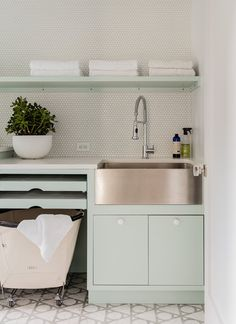 Pale Green Laundry Room Cabinets and Shelves – Contemporary – Laundry Room – Modern Farmhouse Sink Room Makeover, Room Design, Laundry Mud Room, Basement Laundry Room, Family Room Design, Laundry Room Decor, Sink Shelf, Laundry Room Drying Rack, Sink Design