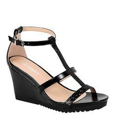 Love this Black Aislinn T-Strap Wedge Sandal on #zulily! #zulilyfinds