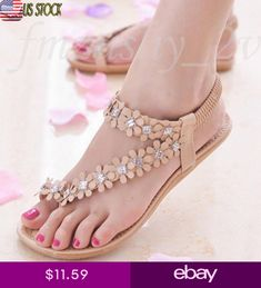 97e014eee Women Summer Bohemia Flower Beads Home Flip-flop Shoes Leisure Beach Sandals  US
