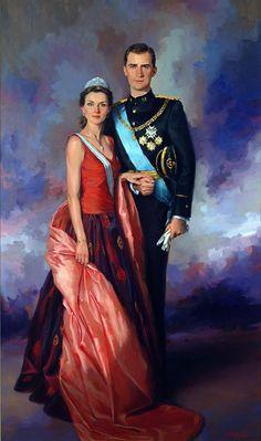 Royal Oil Portraits Paintings by Spanish Artist Richardo Sanz: Prince Felipe and Princess Letizia.