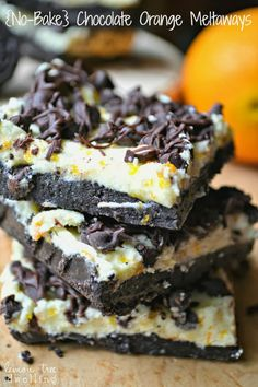 No-Bake Chocolate Orange Meltaways - the perfect combo of chocolate and orange. Makes a delicious holiday treat! via Ma Ma Tree Dwelling Holiday Desserts, No Bake Desserts, Just Desserts, Delicious Desserts, Dessert Recipes, Yummy Food, Sweet Desserts, Eat Dessert First, Dessert Bars