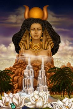 """Hathor - """"personified the principles of joy, feminine love, and She was one of the most important and popular deities throughout the history of Ancient Egypt"""" -Wikipedia Isis Goddess, Goddess Art, Goddess Of Love, Egyptian Goddess, Egyptian Art, Egyptian Queen, Egyptian Tattoo, Mother Goddess, Moon Goddess"""