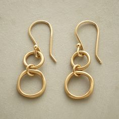 DOUBLE RINGS EARRINGS--Anne Sportun sculpts organic rings, each burnished to a satiny finish. A handcrafted exclusive in 14kt gold