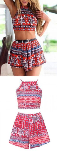 Red Mixed Folk Print Backless Crop Top And High Waist Shorts