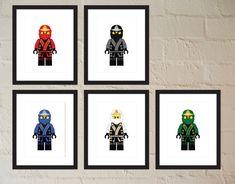 Set of 5 Ninja in Elemental Robes - Child or Adult - Poster - Printable - Instant Download