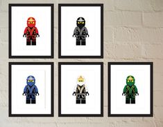 Set of 5 Ninja in Elemental Robes  Child or by paper4download