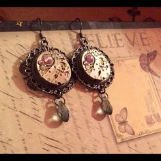 """Selling this """"Handmade steampunk earrings"""" in my Poshmark closet! My username is: lauren_briggs. #shopmycloset #poshmark #fashion #shopping #style #forsale #Nameless Creations #Jewelry"""