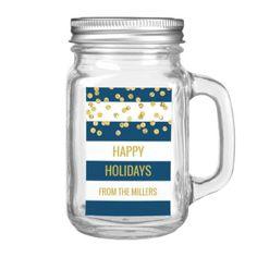 Navy Blue Stripes Gold Confetti Custom Christmas Food Label - holidays diy custom design cyo holiday family