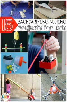 15 awesome backyard engineering projects for kids. Perfect summer activities! Have an egg drop challenge, build pool noodle race tracks, make a zipline and more.