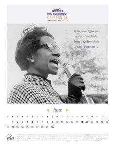 """June's featured suffragist is Shirley Chisholm. She was elected to Congress in 1968 from New York's 12th Congressional District. As the first African American woman to ever serve in Congress, her rise to office was propelled by her campaign slogan: """"Fighting Shirley Chisholm—Unbought and Unbossed.""""  #19thAmendment #RightfullyHers #Archives19thAt100"""