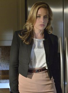 Annie's black cropped jacket and spot print blouse on Covert Affairs.  Outfit details: http://wornontv.net/17531/