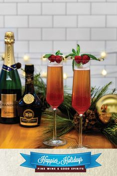 Ring in the new year with this delicious bubbly! Chandon Brut Classic is a bright, crispy taste and mixed with the herbal sweetness of Bénédictine and pomegranate juice will make your New Year's toast a hit! New Year's Eve Cocktails, Wine Cocktails, Christmas Cocktails, Cocktail Drinks, Fun Drinks, Alcoholic Drinks, Good Spirits, Wine And Spirits, All Things Christmas
