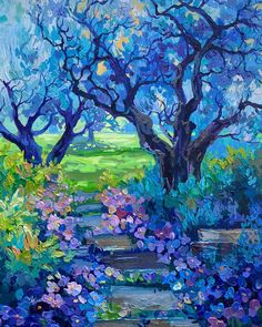 Diy Canvas Art, Canvas Art Prints, Arte Van Gogh, Van Gogh Art, Impressionist Art, Modern Impressionism, Tree Art, Aesthetic Art, Landscape Art
