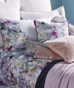 Shop patterned cushion covers, faux fur scatter cushions & more at House of Fraser. Floral Bedding, Linen Bedding, Bed Linens, Home Bedroom, Bedroom Decor, Bedroom Interiors, Bedroom Ideas, Minimal House Design, Luxury Cushions