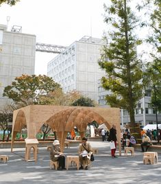 Students of Waseda University in Tokyo have reimagined a public space using a pavilion seating area. They used plywood to maintain an affordable and buildable structure. The pop-up #LQC intervention has become a magnet for activity. #Placemaking
