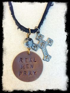 Men's Black Hand Stamped Brass Tag Christian Inspirational Necklace by Stones on String, $38.00
