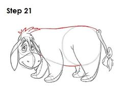 Learn how to draw Eeyore from Walt Disney's Winnie-the-Pooh tutorial and video. A new cartoon drawing tutorial is uploaded every week, so stay tooned! Cartoon Drawing Tutorial, Pencil Drawing Tutorials, Pencil Drawings, Drawing Ideas, Drawing Cartoon Characters, Cartoon Drawings, Easy Drawings, Winnie The Pooh Drawing, Disney Drawings