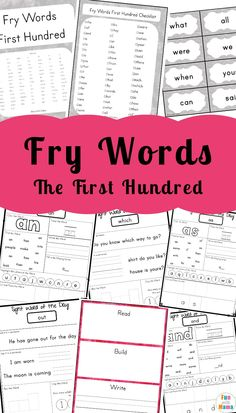 These kindergarten sight words includes a Fry Sight Words list worksheets for the first 100 words include cards, worksheets, a checklist and more activities to help your child learn these high frequency words. Fry Words, Fry Sight Words, First Grade Sight Words, Sight Word Flashcards, Sight Word Worksheets, Sight Word Activities, Printable Worksheets, Free Printable, Free Worksheets